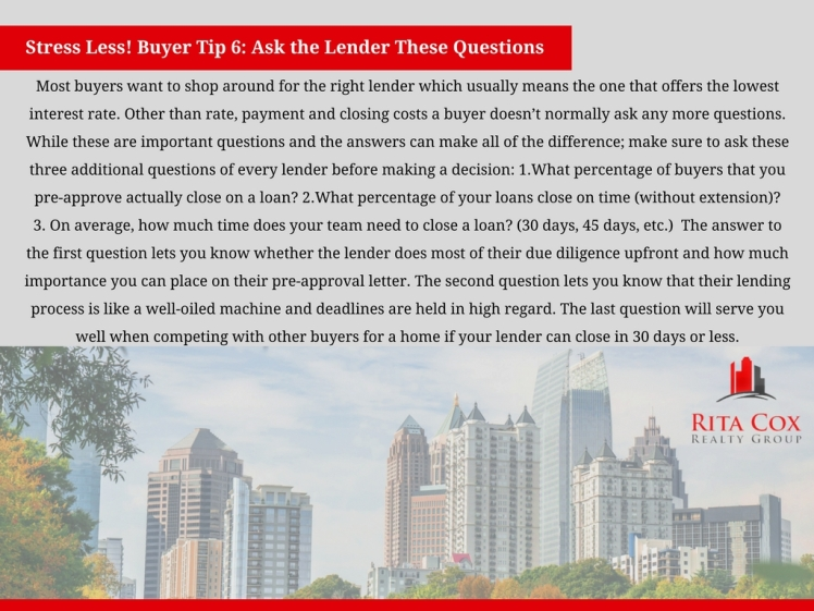 POSTED Stress_less_buyer_tip_6_rita_cox_realty_group_keller_williams_real_estate