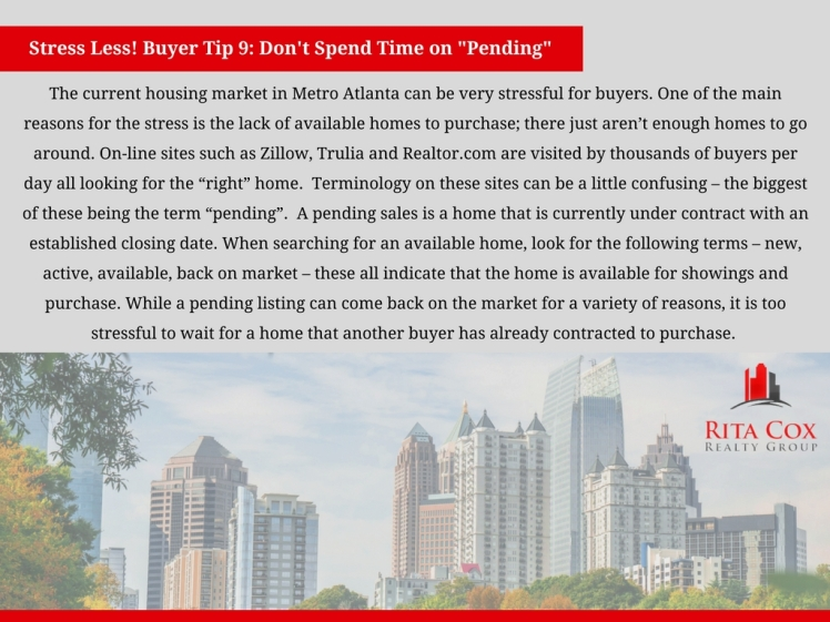 POSTED Stress_less_buyer_tip_9_rita_cox_realty_group_keller_williams_real_estate