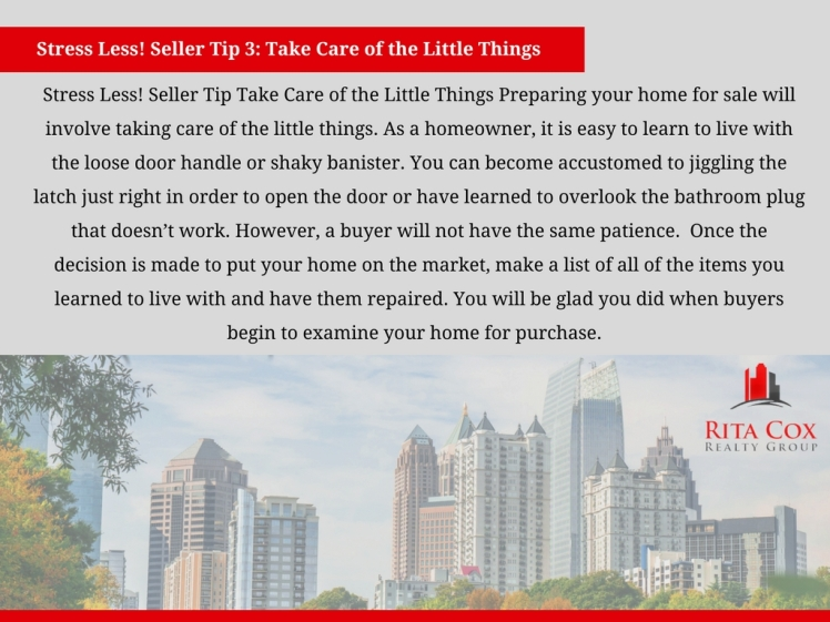 POSTED Stress_less_seller_tip_3_rita_cox_realty_group_keller_williams_real_estate